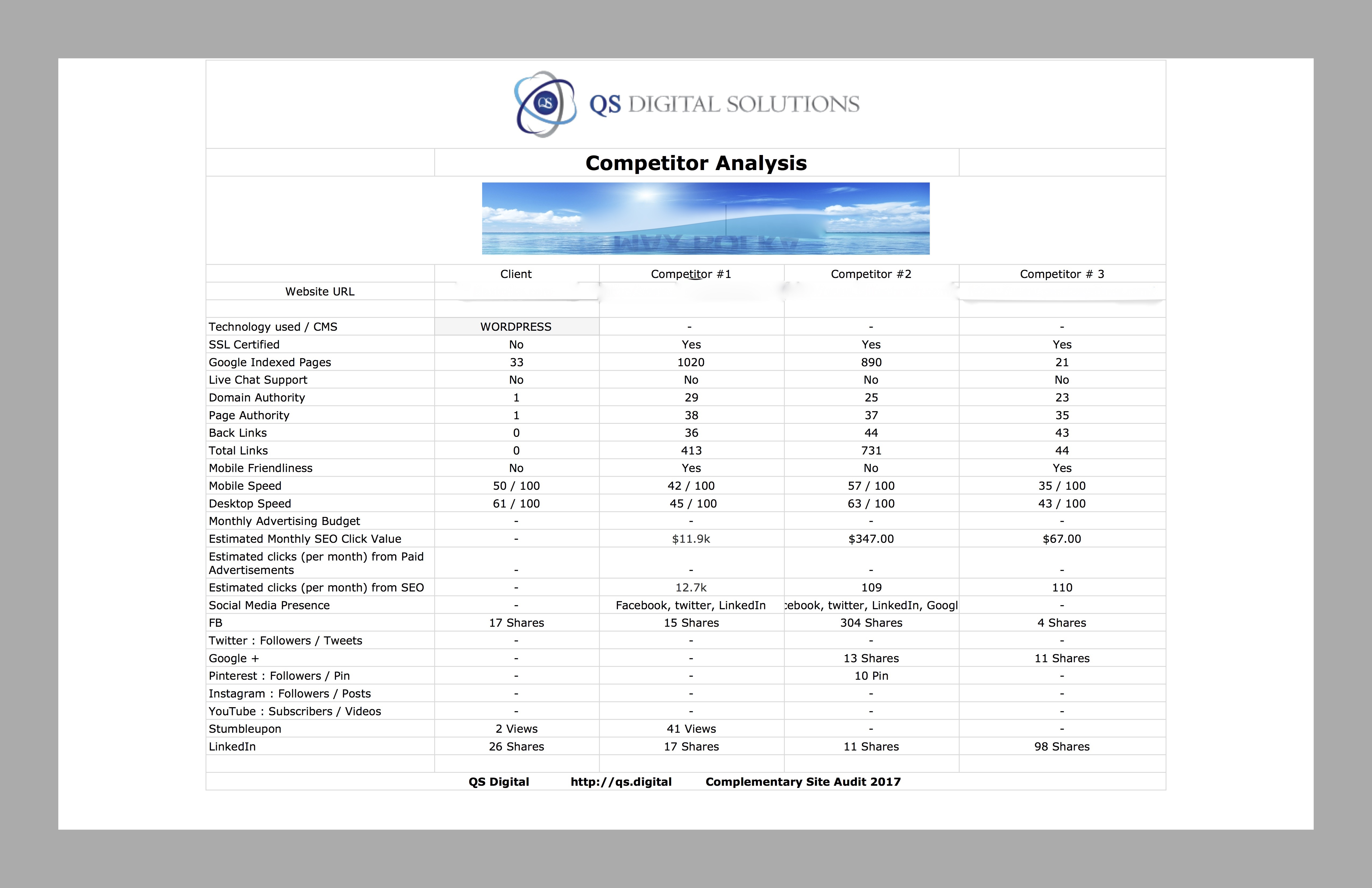 Click To Enlarge And See Sample Competitor Analysis